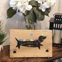 Hand Painted Welcome Lead Hook - Dachshund